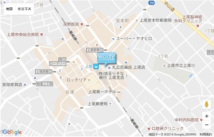 ミュゼ 丸広百貨店上尾店 の地図