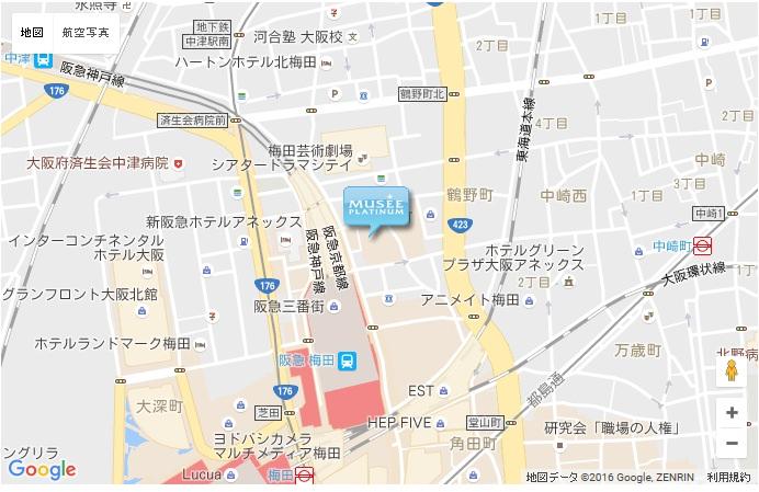 ミュゼ グランNU茶屋町店の地図