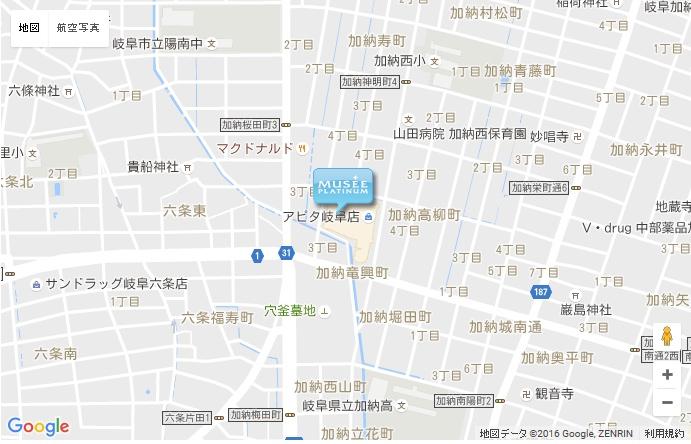 ミュゼ グランアピタ岐阜店の地図