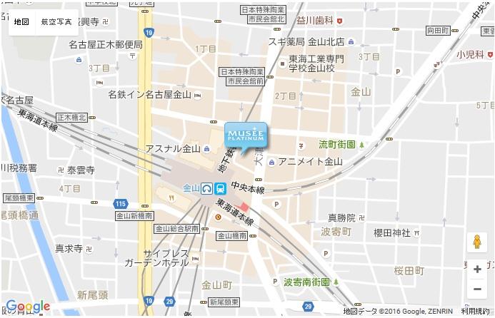 ミュゼ 金山店の地図