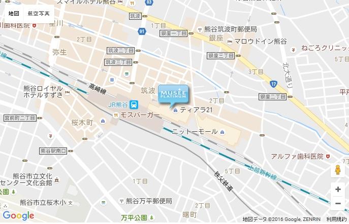 ミュゼ 熊谷アズイースト店 の地図