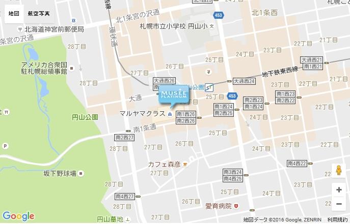 ミュゼ マルヤマクラス店の地図
