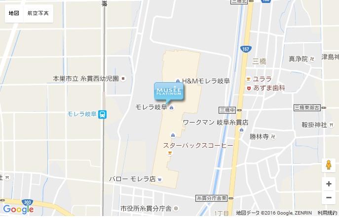 ミュゼ モレラ岐阜店の地図