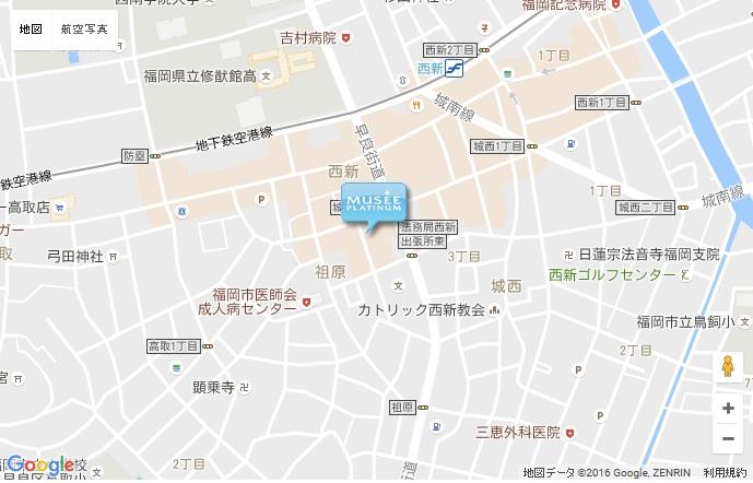 ミュゼ 西新テングッドシティ店の地図