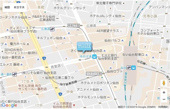 ミュゼ アリオ仙台泉店の地図