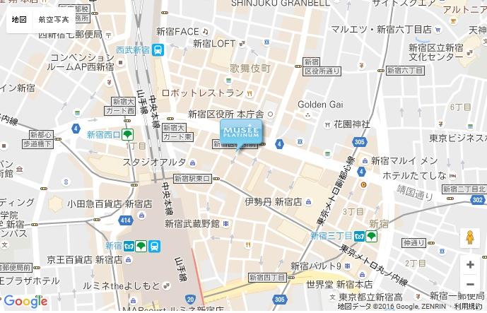 ミュゼ 新宿東口アネックス店の地図