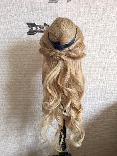 100均の盛り髪「スキ毛」を使って「黄色ドレス着用時のベルの髪型」を作る