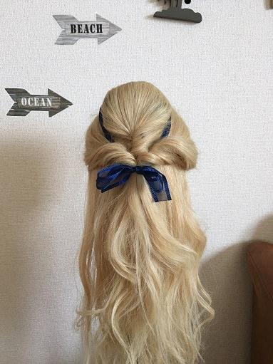 100均の盛り髪スポンジを使って「黄色ドレス着用時のベルの髪型」を作る