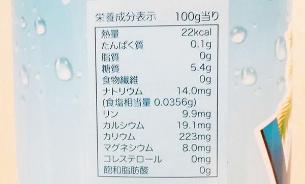 ココナッツウォーターの栄養成分・カロリー