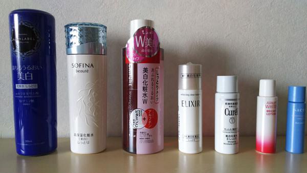 7種類の美白化粧水を購入
