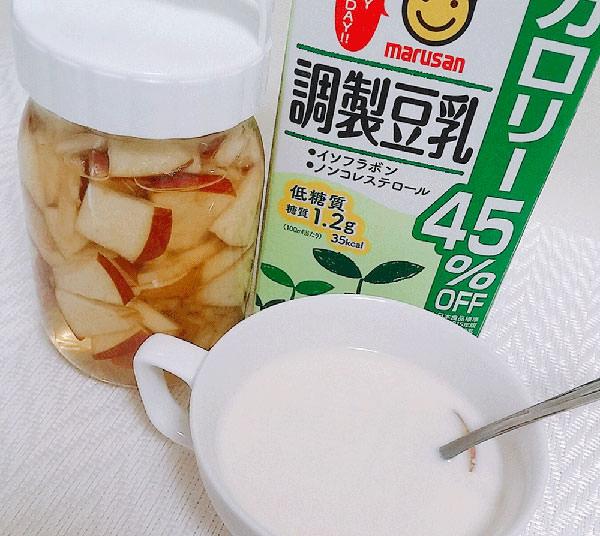 リンゴ酢+豆乳