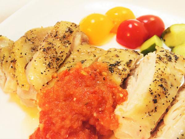 チキンソテー酢トマトソースのレシピ