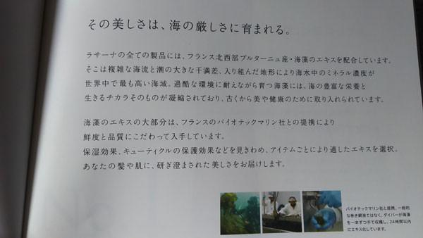ラサーナ海藻ヘアミルク パンフレット