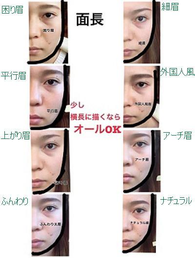 面長型の方におすすめの眉デザイン