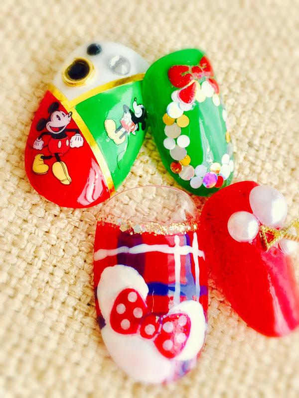 ミッキー&ミニー クリスマスネイル