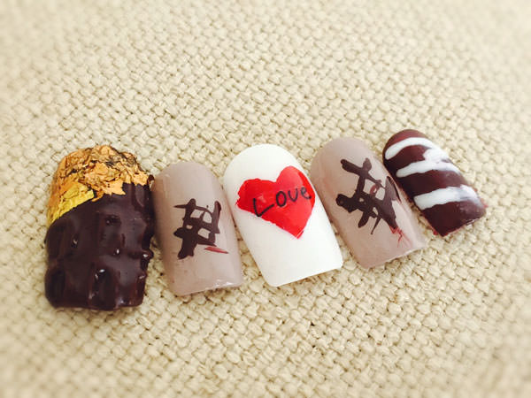 板チョコみたいなチョコネイル