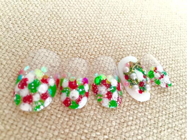 クリスマス赤ネイル