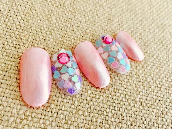 ピンク系ミラーネイル