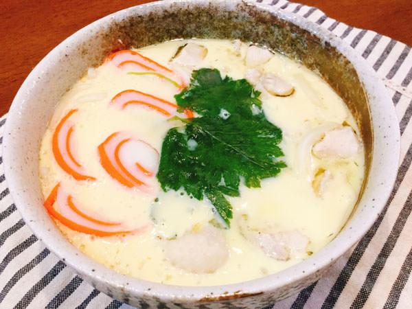節約レシピ1.【65円】インパクト大!うどん入りのドデカ茶碗蒸し♪