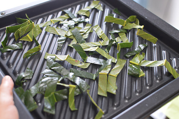 たびわの葉をオーブンで乾燥