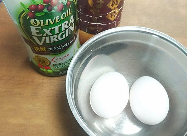 オリーブオイル+卵黄+はちみつヘアパック