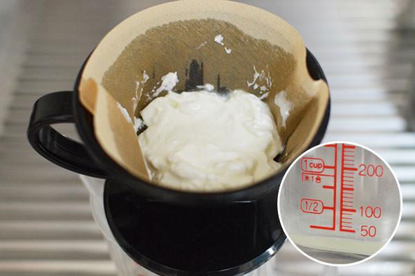 コーヒーフィルターで濾酢してホエイを採取