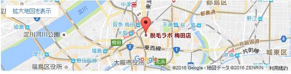 脱毛ラボ 梅田店の地図