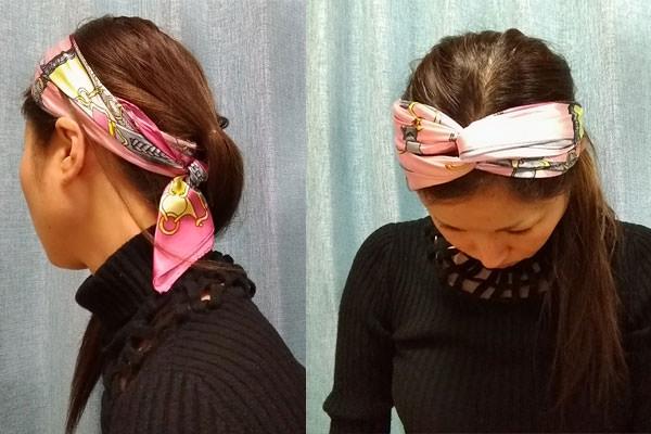 スカーフでレトロなヘアバンド(カチューシャ)
